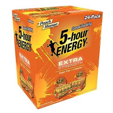 5-Hour Energy Shot, Extra Strength Peach Mango (1.93 oz. ea., 24 pk.) (pack of 2) by 5-Hour Energy