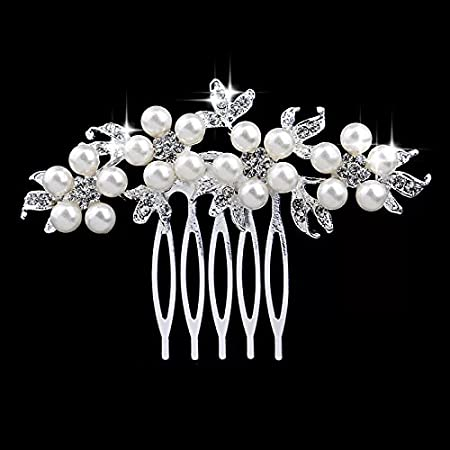 JINBOSHI Crystal Bridal Hair Comb for Weddings , Prom,Party (01) (01) 0695626449519