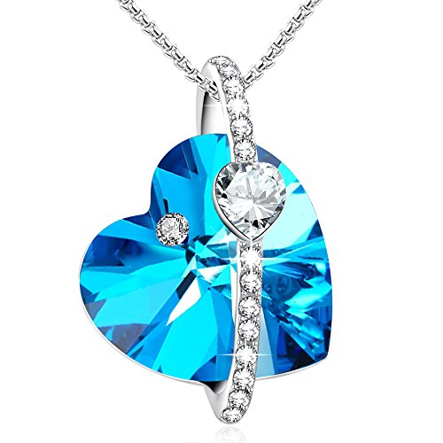 (GEORGE · SMITH Blue Heart Halo Pendant Necklace Wedding Anniversary Jewelry for Daughter Wife Mom with Swarovski Crystals (Blue-Heart))