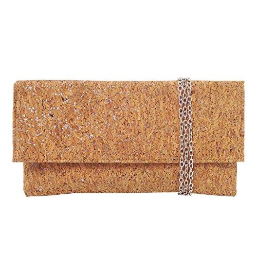 JNB Metallic Cork Clutch, (Metallic Satin Clutch)