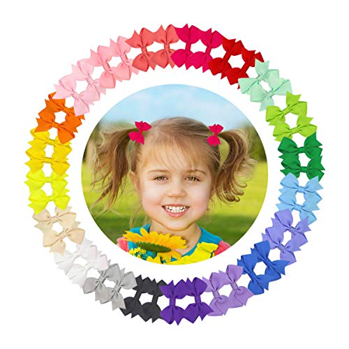"Toddler Girls Hair Bow Clips 40 Pcs 2"" Grosgrain Ribbon Hair Barrettes with Alligator Clips For Baby Girls Infant Fine Hair Toddlers Teens Kids Children 20 Colors Hair Accessories"