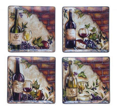 Certified International Wine Cellar 11-Inch Square Dinner Plate, Assorted Designs, Set of 4