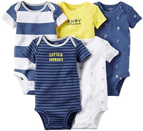 Carter's 5 Pack Bodysuits, Stripe/Anchor, New Born