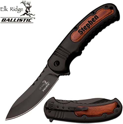 AlphaNumeric Engravers Free Engraving Elk Ridge Ballistic Spring Assisted Stainless Steel Black Blade Customize Online