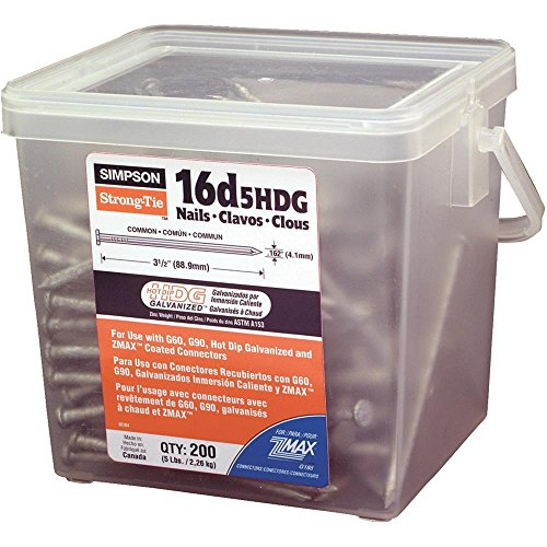 5LB 16D HDG COMMON NAILS 16D5HDG-R Contains 4 per case