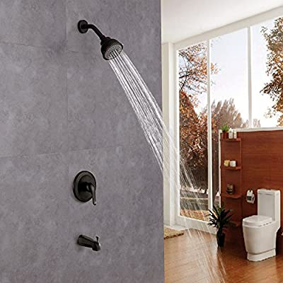 KES Pressure Balance Bathroom Shower Faucet Set Combo Complete Kit Brass Antiscald Valve with Diverter Tub Spout, Oil Rubbed Bronze, XB6222-7