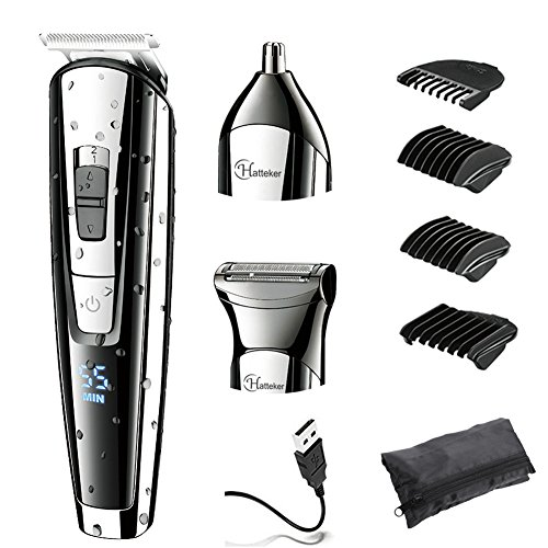 HATTEKER Beard Trimmer Kit For Men Cordless Mustache Trimmer Hair Trimmer Body Grommer Clippers Waterproof USB Rechargeable 3 In 1