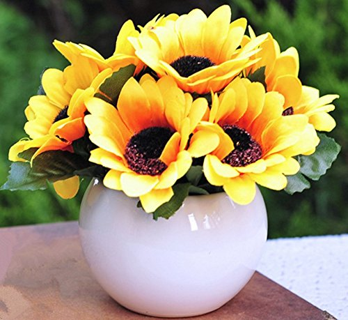 Mini Artificial Flowers Ball with Ceramic Pots Topiary Plant Flower Plant for Home Wedding Decor (Ball pot 7 heads flowers, (Sunflower Topiary)