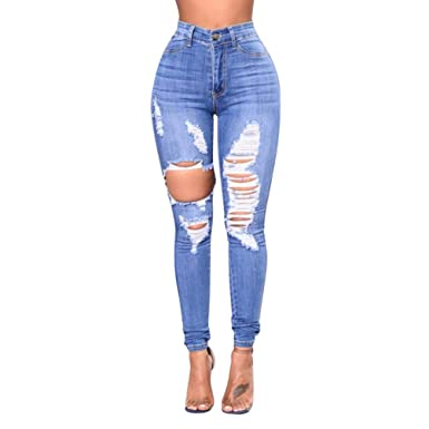 Zengbang Damen Mode Skinny Jeanshose Hohe Taille Bleistift Röhrenhose Loch  Zerrissen Ripped Jeans  Amazon.de  Bekleidung 455f2b7e39