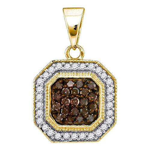 Sonia Jewels 10K Yellow Gold Channel Set Chocolate Brown & White Princess Square Halo Diamond Pendant Charm (1/3 cttw.) (Chocolate Diamond Pendant)