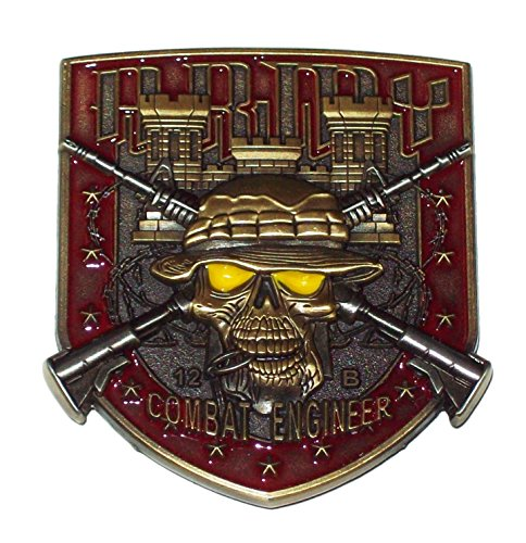 Combat Engineer 12B Army MOS Skull Challenge Coin