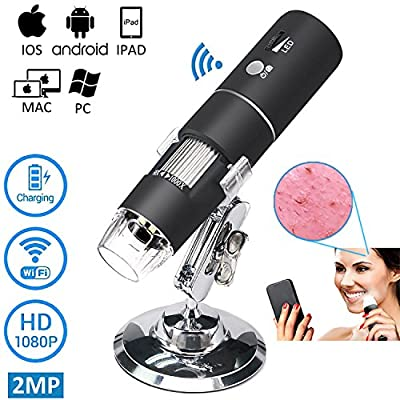 WiFi Microscope Camera,Portable USB Digital Kids Microscope - 50x to 1000x 1080P HD Video Magnification 8 LED Light iOS,Android, Windows, Mac Dinguier