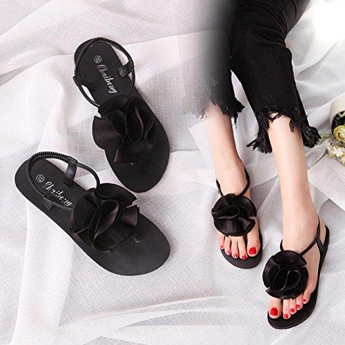 Elevin (tm) Dames Zomer Bohemen Diamanten & Bloem Sandalen Peep Toe Platte Strandschoenen Zwart