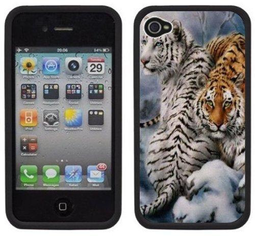 Tigre de Bengale blanc | Fait à la main | iPhone 4 4s | Etui Housse noir
