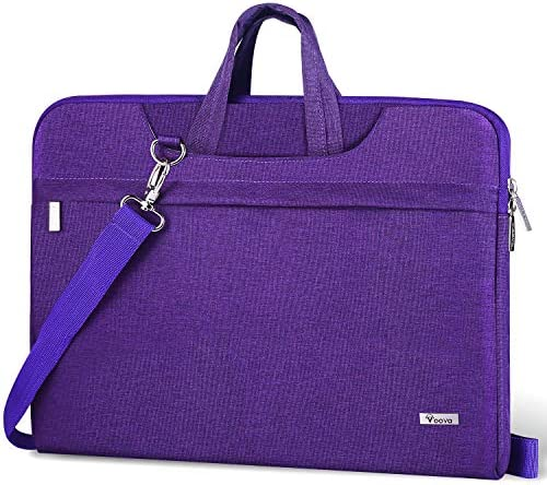 Voova 14 15 15.6 Inch Laptop Sleeve Shoulder Bag, Slim Women Computer Carrying Case with Strap Compatible with MacBook Pro 15.4 16, Surface Book 2/Laptop 3 15, Chromebook Messenger Briefcase, Purple