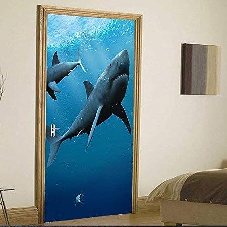 Xl68 Autocollant Mural De Porte 3d Deep Sea Shark Papier