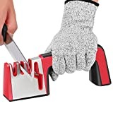 grinder 5 stage - TINGAU Kitchen Knife Sharpener - 4 in 1 Knife & Scissors Manual Sharpener, No1 Choice Chef Knife Sharpening Tool Helps Repair and Restore Knives, Quick & Easy to Use - Cut Resistant Gloves Included