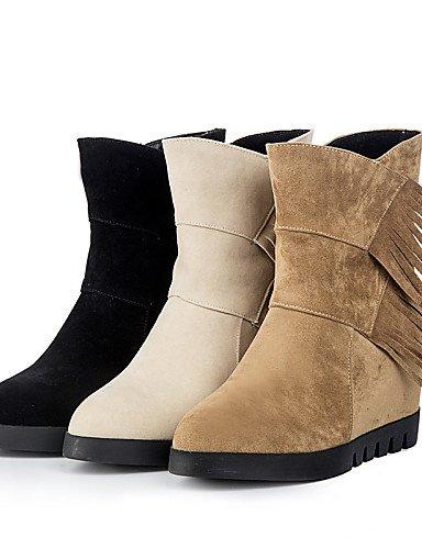 Uk8 us8 Zapatos Casual Cn39 Brown Negro La Black Mujer Eu42 Cn43 Xzz Cuña Botas A Vellón Punta 5 De Tacón Redonda Vestido Beige Marrón 5 C Moda us10 Eu39 Uk6 F7ndqw1