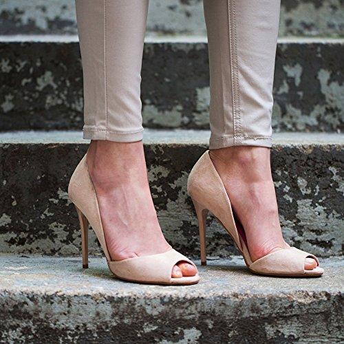 Ideal Shoes-Pumps Peep Toe Effekt Wildleder Jalila Beige