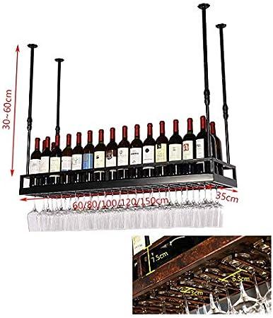 LJWJ Estante para Vinos, Bar, Restaurante, Colgante, Estante para Copas de Vino, Estantes para Copas de Vino Tipo Techo Retro Soporte para Botellas Estante para Copas de Vino Estantes para Copas,Los