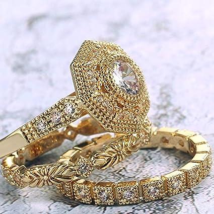 MSJFUBANGBM Huitan 3 Piezas de Anillo Nupcial Establece Noble Color Dorado con verdadera Piedra de circón cúbico de Fábrica al por Mayor Anillo de Midi for Mujer