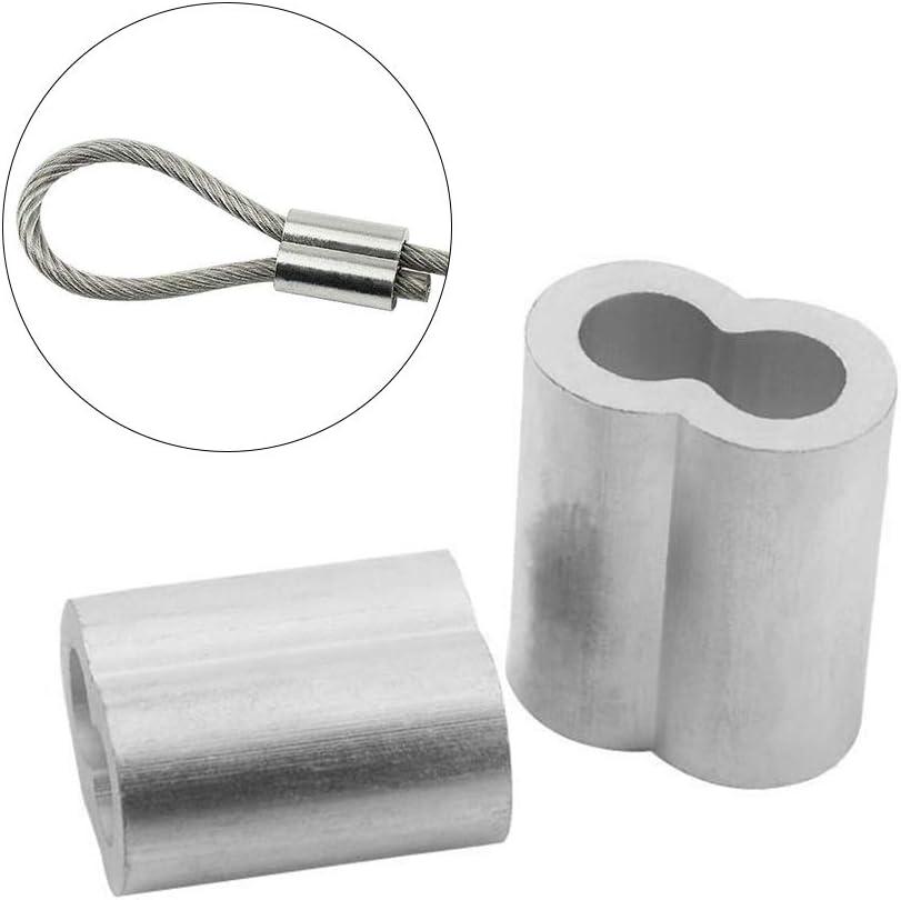 para cable de 3 mm de di/ámetro accesorios de engarzado de cable f/érula de doble barril de aluminio IWILCS 100 PCS Clip de mangas de aluminio clips de manguito de engarce de engarce