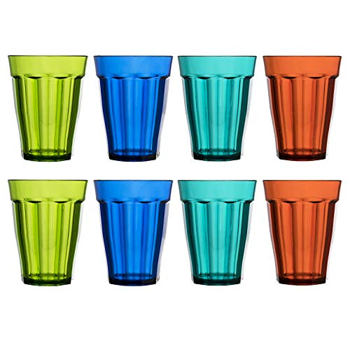 Rhapsody 12-ounce Plastic Tumblers | set of 8 in 4 Assorted Colors ()