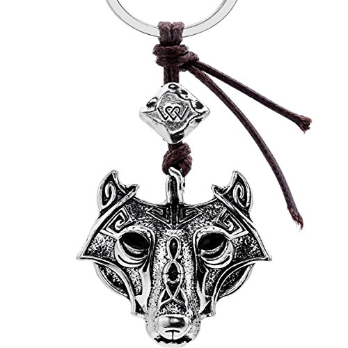 Men's Key Ring Viking Norse Runes Keychain Wolf Head By Alchemy Gothic Car Keychains For Women (Patina)