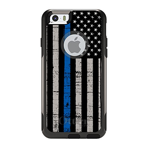 "CUSTOM Black OtterBox Commuter Series Case for Apple iPhone 6 Plus / 6S Plus (5.5"" Screen) - Weathered Thin Blue Line"