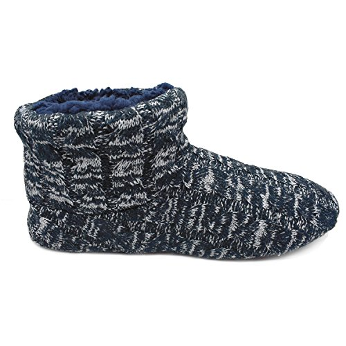 SunbowStar Men's Faux Fur Lined Knit Anti-Slip Indoor Slippers Boots House Slipper Bootie,Navy Blue-11 D(M) US by SunbowStar (Image #4)