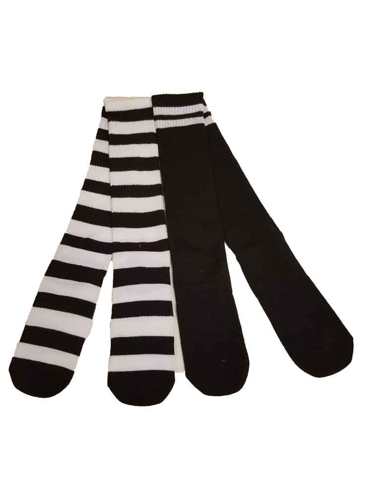 So Allsport Knee Sock Team Athletic Performance for Woman Black/White Striped