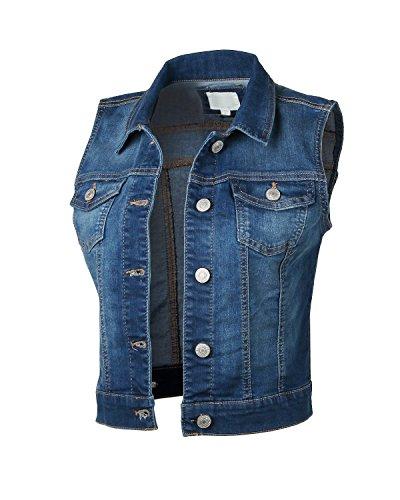 Dream Supply Womens Juniors Sleeveless Button up Jean Denim Crop Top Jacket Vest by Dream Supply (Image #5)