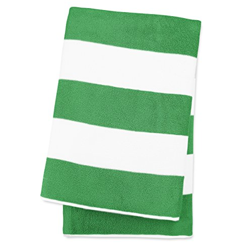 [Luxor Linens 30-Inch-by-70-Inch Egyptian Cotton Classic Cabbana Stripe Beach Towel, Green] (Rope Stripe Ring)