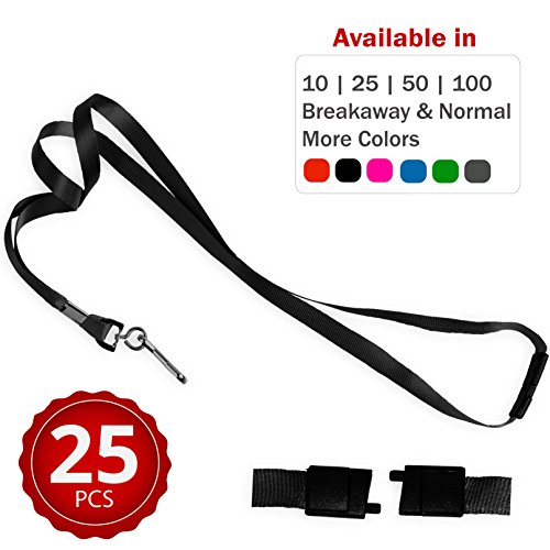 Durably Woven Lanyards with Safety Breakaway ~Premium Quality, Smoothly Finished for Skin-Friendly Comfort~ for Moms, Teachers, Tours, Events, Cruises & More (25 Pack, Black) by Stationery ()