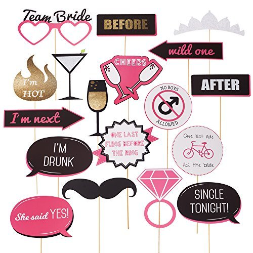 Bachelorette Party Photo Booth Props - Fun Wedding Photo Booth Props or for Bridal Shower - Make the Perfect Selfies with these Photobooth Prop Sticks for Engagement and Girls Night Out Party Supplies -