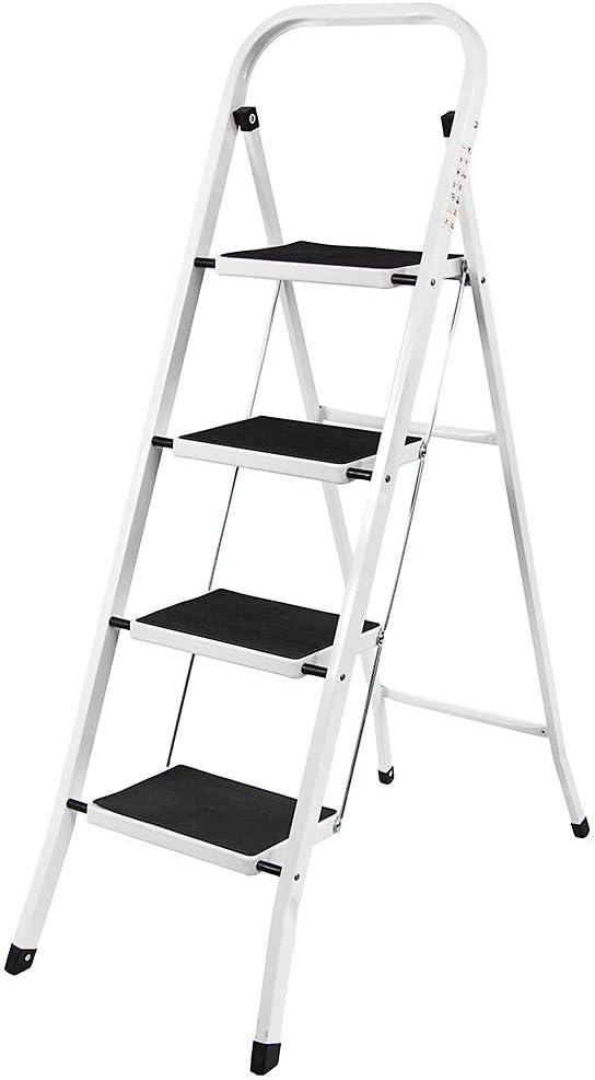 Trade Professional escalera de acero de 4 peldaños - Equipada con dos pasamanos de seguridad con virolas de goma moldeadas antideslizantes - Capacidad de carga de 150 kg para el hogar/cocina/garaje: Amazon.es:
