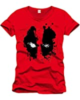 Deadpool Face T-Shirt rosso