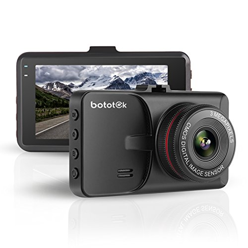 FHD 1080P Dash Cam, Bototek Loop Recording with 3'' LCD Car Video Recorder DVR Vehicle G-Sensor Car Driving Recorder