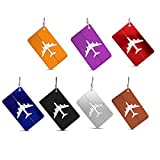 Set of 7 Aluminum Metal Travel Suitcase Luggage Tags Labels Bag Baggage ID Name Address Tag Label with Screw Chain, 7 Colors