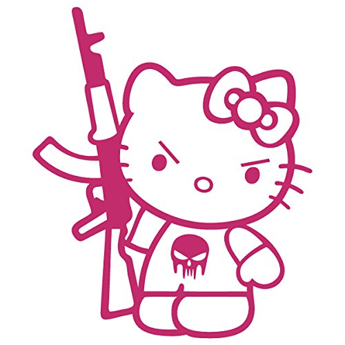 Hello Kitty Fender - Hello Kitty Machine Gun AK-47 / Vinyl Decal Sticker (HK-17) (7'' x 6'', Hot Pink)