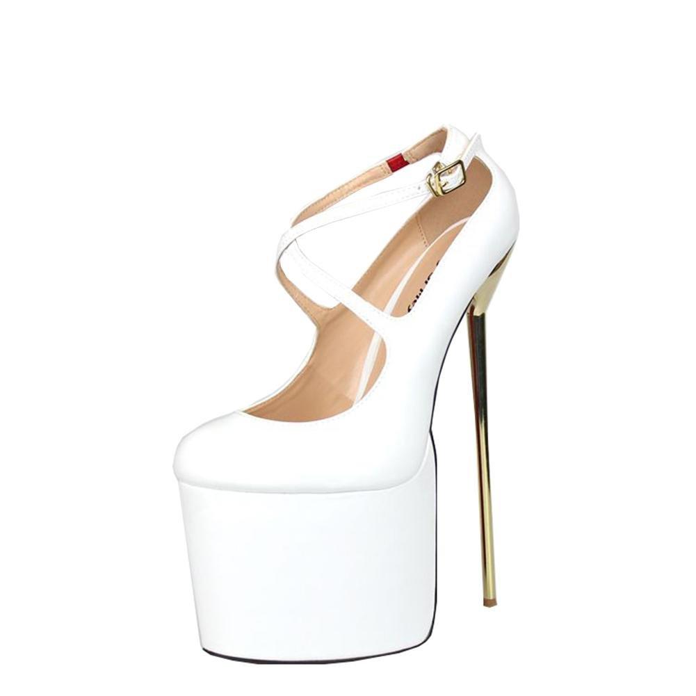 NVXIE Mujeres Nuevos Sexy Stiletto de tacón alto único zapatos correa de tobillo boca baja artificiales PU bombas impermeables Negro Rojo caída de primavera Nightclub Party Wedding Dressy , EUR 45/ UK 10.5 WHITE-EUR45UK105