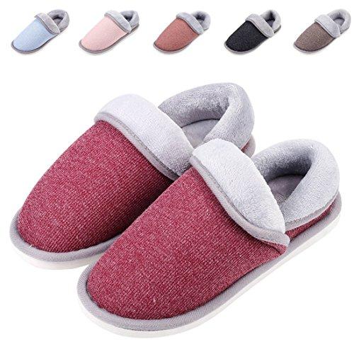 Leisurely Pace Women's Cozy Memory Foam Slippers Indoor Anti-Skid Sole Velvet House Slippers ()