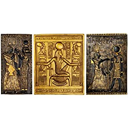 Design Toscano Egyptian Temple Steles Tutankhamen, Isis and Horus Wall Sculpture Plaques, 10 Inch, Set of Three, Polyresin, Black and Gold