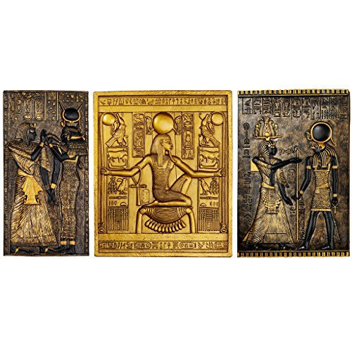 (Design Toscano Egyptian Temple Steles Tutankhamen, Isis and Horus Wall Sculpture Plaques, 10 Inch, Black and Gold)