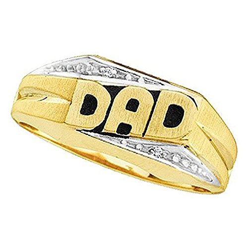 DazzlingRock Collection 0.02 Carat (ctw) 14K Yellow Gold Round Cut White Diamond Men's DAD Ring (Size 7.5) (Ring Dad Round Mens Diamond)