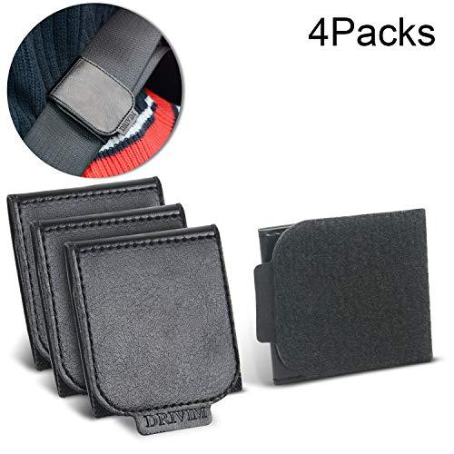 4 Pack Car Seat Belt Adjuster, DRIVIM Premium PU Leather Car Seat Belt with Velcro, Comfort Universal Shoulder Neck Positioner, Vehicle Seat Belt Adjuster for Adults and Kids (Black)