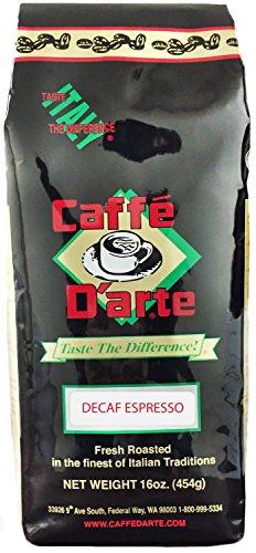 Caffe D'arte Espresso Decaf Whole Bean Coffee, 16-Ounce Foil Bags (Pack of - Beans Espresso Decaf