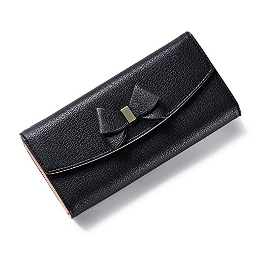 Simple Solid Zipper Hasp Design Ladies Wallets (Black) - 1