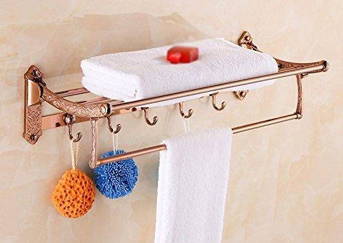GGHYYO Towel shelf shower room kitchen Shelf Foldable Holder Rose Gold Color Carved Flowers