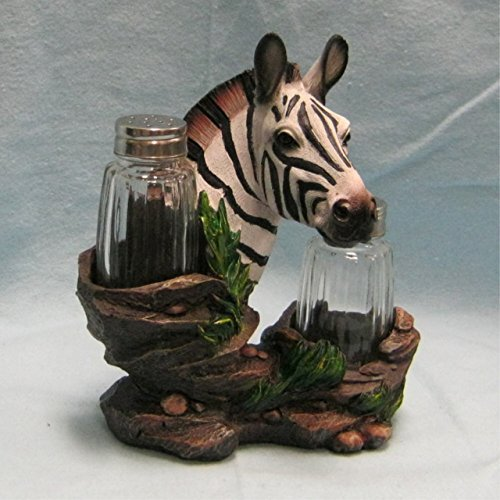 Zebra Salt and Pepper Shaker Holder